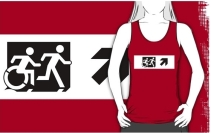 Accessible Means of Egress Icon Exit Sign Wheelchair Wheelie Running Man Symbol by Lee Wilson PWD Disability Emergency Evacuation Adult T-shirt 62