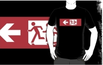 Accessible Means of Egress Icon Exit Sign Wheelchair Wheelie Running Man Symbol by Lee Wilson PWD Disability Emergency Evacuation Adult T-shirt 621