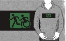 Accessible Means of Egress Icon Exit Sign Wheelchair Wheelie Running Man Symbol by Lee Wilson PWD Disability Emergency Evacuation Adult T-shirt 622