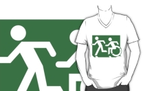 Accessible Means of Egress Icon Exit Sign Wheelchair Wheelie Running Man Symbol by Lee Wilson PWD Disability Emergency Evacuation Adult T-shirt 623