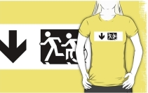 Accessible Means of Egress Icon Exit Sign Wheelchair Wheelie Running Man Symbol by Lee Wilson PWD Disability Emergency Evacuation Adult T-shirt 624
