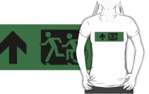 Accessible Means of Egress Icon Exit Sign Wheelchair Wheelie Running Man Symbol by Lee Wilson PWD Disability Emergency Evacuation Adult T-shirt 625