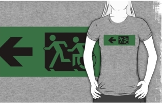 Accessible Means of Egress Icon Exit Sign Wheelchair Wheelie Running Man Symbol by Lee Wilson PWD Disability Emergency Evacuation Adult T-shirt 627