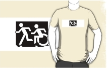 Accessible Means of Egress Icon Exit Sign Wheelchair Wheelie Running Man Symbol by Lee Wilson PWD Disability Emergency Evacuation Adult T-shirt 628