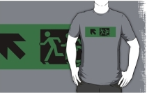 Accessible Means of Egress Icon Exit Sign Wheelchair Wheelie Running Man Symbol by Lee Wilson PWD Disability Emergency Evacuation Adult T-shirt 629