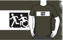 Accessible Means of Egress Icon Exit Sign Wheelchair Wheelie Running Man Symbol by Lee Wilson PWD Disability Emergency Evacuation Adult T-shirt 630