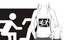 Accessible Means of Egress Icon Exit Sign Wheelchair Wheelie Running Man Symbol by Lee Wilson PWD Disability Emergency Evacuation Adult T-shirt 63