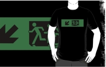 Accessible Means of Egress Icon Exit Sign Wheelchair Wheelie Running Man Symbol by Lee Wilson PWD Disability Emergency Evacuation Adult T-shirt 631