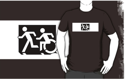 Accessible Means of Egress Icon Exit Sign Wheelchair Wheelie Running Man Symbol by Lee Wilson PWD Disability Emergency Evacuation Adult T-shirt 632