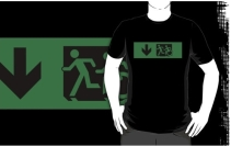 Accessible Means of Egress Icon Exit Sign Wheelchair Wheelie Running Man Symbol by Lee Wilson PWD Disability Emergency Evacuation Adult T-shirt 633