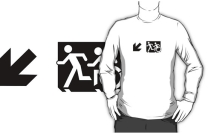 Accessible Means of Egress Icon Exit Sign Wheelchair Wheelie Running Man Symbol by Lee Wilson PWD Disability Emergency Evacuation Adult T-shirt 634