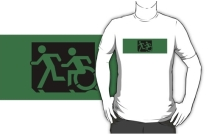 Accessible Means of Egress Icon Exit Sign Wheelchair Wheelie Running Man Symbol by Lee Wilson PWD Disability Emergency Evacuation Adult T-shirt 635