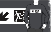 Accessible Means of Egress Icon Exit Sign Wheelchair Wheelie Running Man Symbol by Lee Wilson PWD Disability Emergency Evacuation Adult T-shirt 636