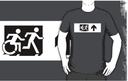 Accessible Means of Egress Icon Exit Sign Wheelchair Wheelie Running Man Symbol by Lee Wilson PWD Disability Emergency Evacuation Adult T-shirt 637