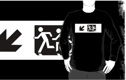 Accessible Means of Egress Icon Exit Sign Wheelchair Wheelie Running Man Symbol by Lee Wilson PWD Disability Emergency Evacuation Adult T-shirt 638