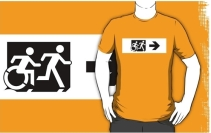 Accessible Means of Egress Icon Exit Sign Wheelchair Wheelie Running Man Symbol by Lee Wilson PWD Disability Emergency Evacuation Adult T-shirt 639