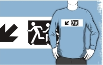 Accessible Means of Egress Icon Exit Sign Wheelchair Wheelie Running Man Symbol by Lee Wilson PWD Disability Emergency Evacuation Adult T-shirt 640