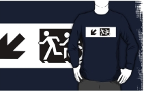 Accessible Means of Egress Icon Exit Sign Wheelchair Wheelie Running Man Symbol by Lee Wilson PWD Disability Emergency Evacuation Adult T-shirt 642