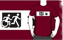 Accessible Means of Egress Icon Exit Sign Wheelchair Wheelie Running Man Symbol by Lee Wilson PWD Disability Emergency Evacuation Adult T-shirt 643