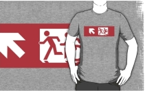 Accessible Means of Egress Icon Exit Sign Wheelchair Wheelie Running Man Symbol by Lee Wilson PWD Disability Emergency Evacuation Adult T-shirt 644