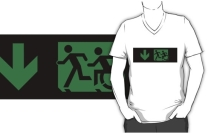 Accessible Means of Egress Icon Exit Sign Wheelchair Wheelie Running Man Symbol by Lee Wilson PWD Disability Emergency Evacuation Adult T-shirt 645