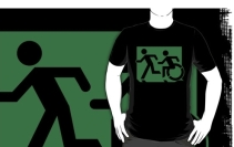 Accessible Means of Egress Icon Exit Sign Wheelchair Wheelie Running Man Symbol by Lee Wilson PWD Disability Emergency Evacuation Adult T-shirt 646