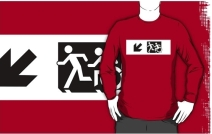 Accessible Means of Egress Icon Exit Sign Wheelchair Wheelie Running Man Symbol by Lee Wilson PWD Disability Emergency Evacuation Adult T-shirt 647