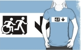 Accessible Means of Egress Icon Exit Sign Wheelchair Wheelie Running Man Symbol by Lee Wilson PWD Disability Emergency Evacuation Adult T-shirt 648