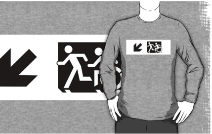 Accessible Means of Egress Icon Exit Sign Wheelchair Wheelie Running Man Symbol by Lee Wilson PWD Disability Emergency Evacuation Adult T-shirt 649