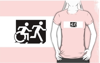 Accessible Means of Egress Icon Exit Sign Wheelchair Wheelie Running Man Symbol by Lee Wilson PWD Disability Emergency Evacuation Adult T-shirt 650