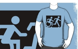 Accessible Means of Egress Icon Exit Sign Wheelchair Wheelie Running Man Symbol by Lee Wilson PWD Disability Emergency Evacuation Adult T-shirt 65