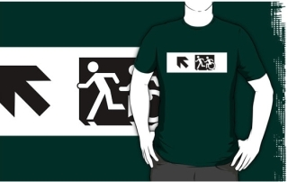 Accessible Means of Egress Icon Exit Sign Wheelchair Wheelie Running Man Symbol by Lee Wilson PWD Disability Emergency Evacuation Adult T-shirt 651