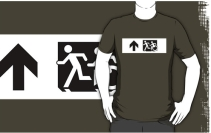Accessible Means of Egress Icon Exit Sign Wheelchair Wheelie Running Man Symbol by Lee Wilson PWD Disability Emergency Evacuation Adult T-shirt 652