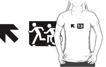 Accessible Means of Egress Icon Exit Sign Wheelchair Wheelie Running Man Symbol by Lee Wilson PWD Disability Emergency Evacuation Adult T-shirt 653