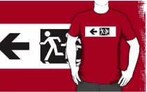 Accessible Means of Egress Icon Exit Sign Wheelchair Wheelie Running Man Symbol by Lee Wilson PWD Disability Emergency Evacuation Adult T-shirt 654