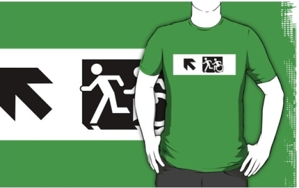 Accessible Means of Egress Icon Exit Sign Wheelchair Wheelie Running Man Symbol by Lee Wilson PWD Disability Emergency Evacuation Adult T-shirt 656