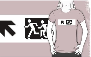 Accessible Means of Egress Icon Exit Sign Wheelchair Wheelie Running Man Symbol by Lee Wilson PWD Disability Emergency Evacuation Adult T-shirt 657