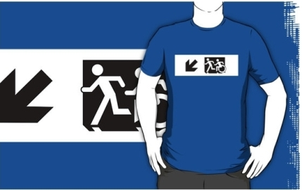 Accessible Means of Egress Icon Exit Sign Wheelchair Wheelie Running Man Symbol by Lee Wilson PWD Disability Emergency Evacuation Adult T-shirt 658
