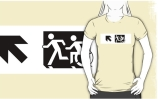 Accessible Means of Egress Icon Exit Sign Wheelchair Wheelie Running Man Symbol by Lee Wilson PWD Disability Emergency Evacuation Adult T-shirt 659
