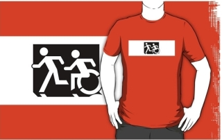 Accessible Means of Egress Icon Exit Sign Wheelchair Wheelie Running Man Symbol by Lee Wilson PWD Disability Emergency Evacuation Adult T-shirt 660
