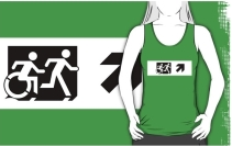 Accessible Means of Egress Icon Exit Sign Wheelchair Wheelie Running Man Symbol by Lee Wilson PWD Disability Emergency Evacuation Adult T-shirt 66