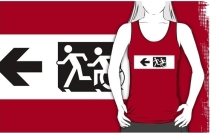 Accessible Means of Egress Icon Exit Sign Wheelchair Wheelie Running Man Symbol by Lee Wilson PWD Disability Emergency Evacuation Adult T-shirt 661