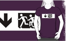 Accessible Means of Egress Icon Exit Sign Wheelchair Wheelie Running Man Symbol by Lee Wilson PWD Disability Emergency Evacuation Adult T-shirt 662