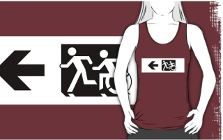 Accessible Means of Egress Icon Exit Sign Wheelchair Wheelie Running Man Symbol by Lee Wilson PWD Disability Emergency Evacuation Adult T-shirt 663