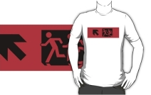 Accessible Means of Egress Icon Exit Sign Wheelchair Wheelie Running Man Symbol by Lee Wilson PWD Disability Emergency Evacuation Adult T-shirt 664