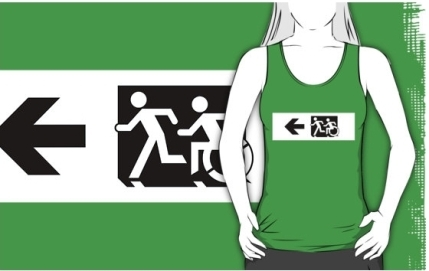 Accessible Means of Egress Icon Exit Sign Wheelchair Wheelie Running Man Symbol by Lee Wilson PWD Disability Emergency Evacuation Adult T-shirt 665