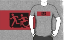 Accessible Means of Egress Icon Exit Sign Wheelchair Wheelie Running Man Symbol by Lee Wilson PWD Disability Emergency Evacuation Adult T-shirt 666