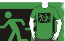 Accessible Means of Egress Icon Exit Sign Wheelchair Wheelie Running Man Symbol by Lee Wilson PWD Disability Emergency Evacuation Adult T-shirt 67