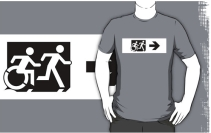 Accessible Means of Egress Icon Exit Sign Wheelchair Wheelie Running Man Symbol by Lee Wilson PWD Disability Emergency Evacuation Adult T-shirt 68