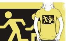 Accessible Means of Egress Icon Exit Sign Wheelchair Wheelie Running Man Symbol by Lee Wilson PWD Disability Emergency Evacuation Adult T-shirt 69